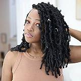 Butterfly Locs Crochet Hair 12 Inch Re4U 8 Packs Soft Distressed Butterfly Locs Crochet Braids Handmade Pre-looped Crochet Hair for Black Women (#1B 12Inch)