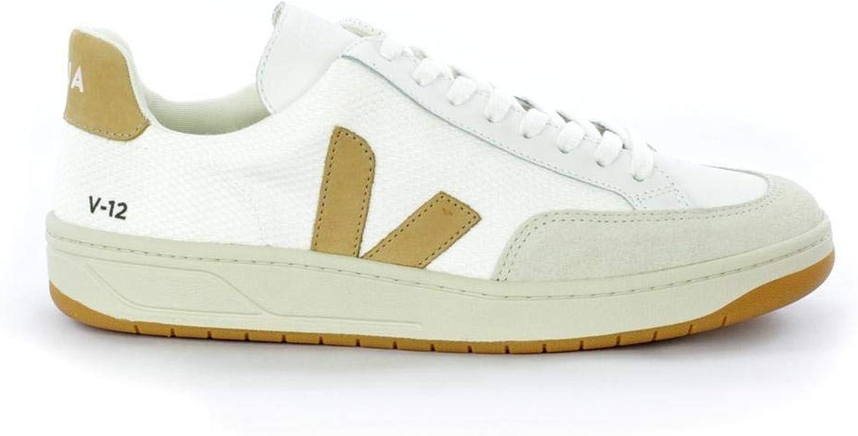 VEJA Man's Sneaker V-12 in Tessuto Bianco E Logo brown