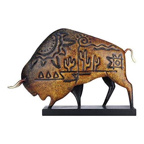 Tooarts Metal American Bison with Square Base Sculpture Animal Figurine Art Ornament Home Decoration