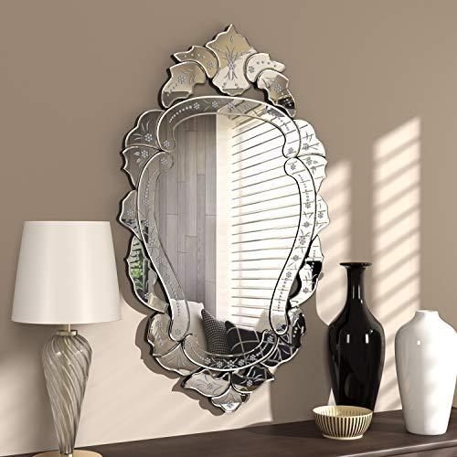 KOHROS - Espejo de pared veneciano con diseño transparente, para casa, hotel, dormitorio, baño, vidrio, Plateado, W 24