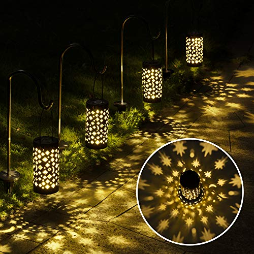 GIGALUMI Solar Pathway Lights, 6 Pack Solar Lanterns Outdoor Solar Lights Decorative Waterproof, Hanging Solar Lights Star Moon Solar Landscape Lights Outdoor for Walkway, Garden, Patio, Lawn, Yard