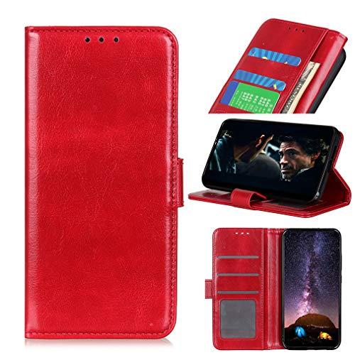 LMFULM® Hülle für Xiaomi Black Shark 3 (6,67 Zoll) PU Leder Hülle mit Fotorahmen Magnet Brieftasche Lederhülle Crazy Horse Style Stent-Funktion Schutzhülle Flip Cover Rot