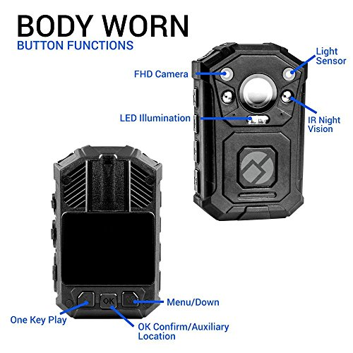 R-Tech HD 1080P+ Up to 1296P(2034 x 1296) Infrared Night Vision Police Body Camera Body Worn Camera Security IR Cam with 32GB Built-in Memory Support Video/Audio Recording