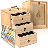 Essential Oil Box - Wooden Storage Case with Handle. Holds 75 Bottles & Roller Balls. 3 Tier Space...