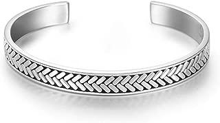 Carleen Fearlessness 925 Sterling Silver Unisex Open Cuff Bangle Bracelets Simple Minimalist Fine Jewelry for Men Women; Size Adjustable