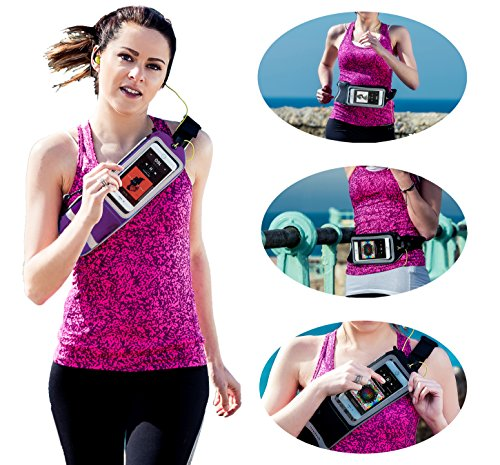 Navitech Poche-Ceinture Violet Sport Jogging randonnée, idéal Compatible avec ZTE Axon Elite