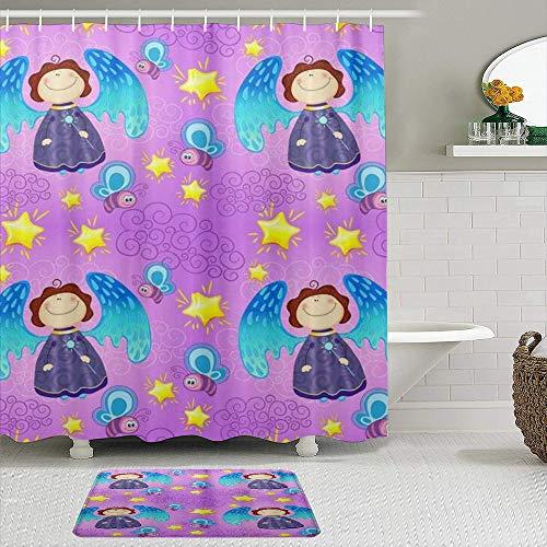 vhg8dweh Duschvorhang Sets mit rutschfesten Teppichen,Bunter Baby-Feen-Engel-Hintergr&, Badematte + Duschvorhang mit 12 Haken