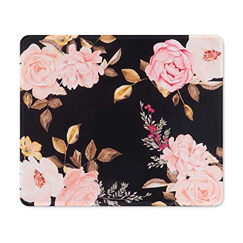 iCasso Mouse Pad with Stitched Edge, Non-Slip Rubber Base and Comfortable Lycra Cloth Mouse Mat, Waterproof Mousepad for Computer, Laptop, Office, Home - 10.4 x 8.4 in - Peony