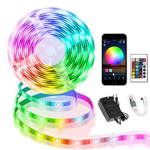 WiFi LED Strip 10m, Smart RGB LED Streifen, steuerbar via App und Fernbedienung, LED Band Dimmbar, Musik Sync, 16 Millionen Farben, Timermodus, arbeit mit Alexa[Energieklasse A]