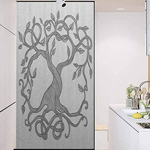 wonderr Waterproof Glass Window Privacy Film Stained Glass Sticker, Celtic Decor Collection Sketchy Figure of A Single, Privacy Glass Film for Home &Office, W23.6xH47.2 Inch