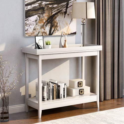 Mesa auxiliar con estantería de madera para salón, dormitorio, pasillo, hogar (blanco)