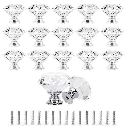 16 pomos de puerta de cristal de 30 mm, con forma de diamante para cajón con tornillos para armario armario (transparente, base plateada)