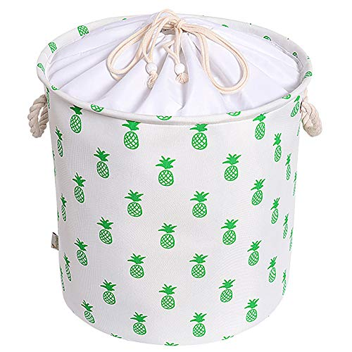 Rismart - Cesta de almacenamiento plegable de tela con diseño de piña con cubierta de cordón y asas de cuerda, Algodón de poliéster, Piña blanca, 42 x 41.5 cm