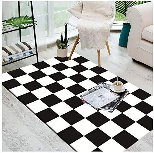 GJXY Noir Designer Tapis et Moquette en Damier Blanc, pour Chambres, Salon, etc. couloirs, la Couleur Pure,80x120cm