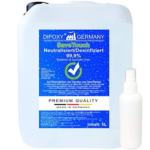 SaveTouch 5L Desinfektion plus Pumpsprühflasche zum Wiederbefüllen Desinfektionsmittel für Hände und Oberflächen