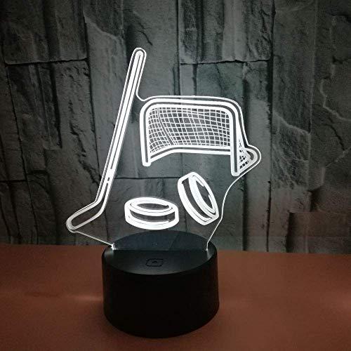 Neuer Hockeyschläger 3D Light Bunter Touchschalter Fernbedienung 3D Light 3D Nachtlicht Geschenkatmosphäre Kleine Tischlampe A1 Black Base