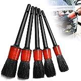 Ganquer 5 Piezas Coche Detalle Escobillas, Auto Detallando Cepillo Set, Limpiador Coche Cepillo - Negro+Rojo, Free Size