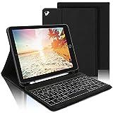AVNICUD Beleuchtete Tastatur Hülle für iPad 2020(8th Gen)/iPad 2019(7th Gen) 10,2 Zoll/iPad Air 2019(3th Gen)/iPad Pro 10,5 2017, Bluetooth QWERTZ Tastatur mit Schützhülle und Pencil Halter