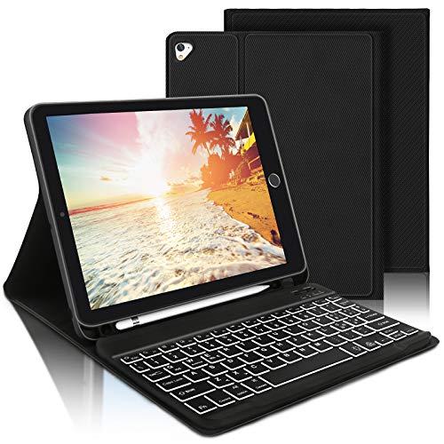 AVNICUD Beleuchtete Tastatur Hülle für iPad 10,2 Zoll 2020/2019(8. Gen/7. Gen)/ iPad Air 2019(3. Gen)/iPad Pro 10,5 2017, Bluetooth QWERTZ Abnehmbare Tastatur mit Schützhülle & Pencil Halter