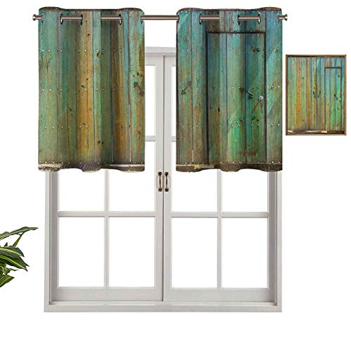 """Short Curtains Valance Privacy Protection Rustic Old Wood Gate Dated Tuscany House Entrance with Antique Texture Photograph, Set of 1, 36""""x18"""" Window Curtain Drapes for Bathroom Kitchen Living Room"""