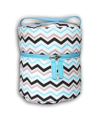 Essentielle Life - Essential Oil Diffuser Case, Essential Oil Diffuser Bag, Spacious Interior Padded Blue aqua Velvets Hold up to 12 Essential Oils (Blue Chevron)