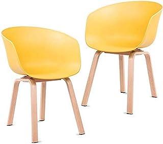 Mc Haus ERIKA - Pack 2 sillas comedor nórdicas amarillo mostaza, silla con reposabrazos diseño moderno salón cocina, silla oficina con patas de metal efecto madera 51x55x75cm