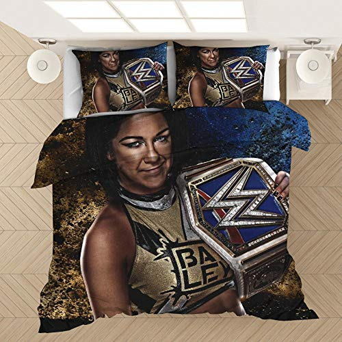 Una impresión gráfica de WWE impresa en 3D imprescindible para un macho, varios tamaños de fundas de edredón y fundas de almohada, ropa de cama impresa suave y cómoda-GRAMO_230x260cm (3 piezas)