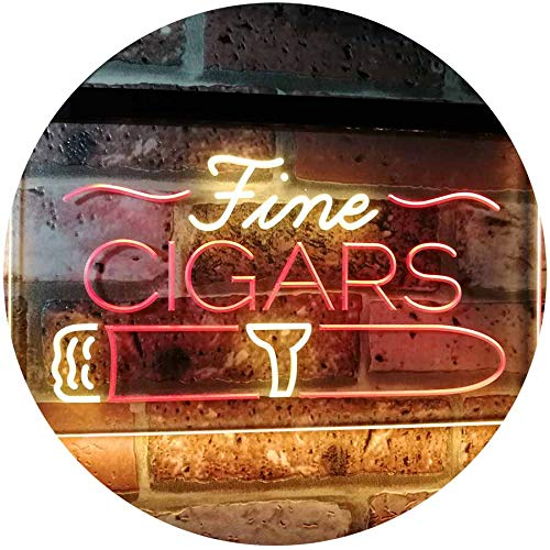 ADVPRO Fine Cigars Shop Smoking Room Man Cave Dual Color LED Neon Sign Red & Yellow 16' x 12' st6s43-i2510-ry