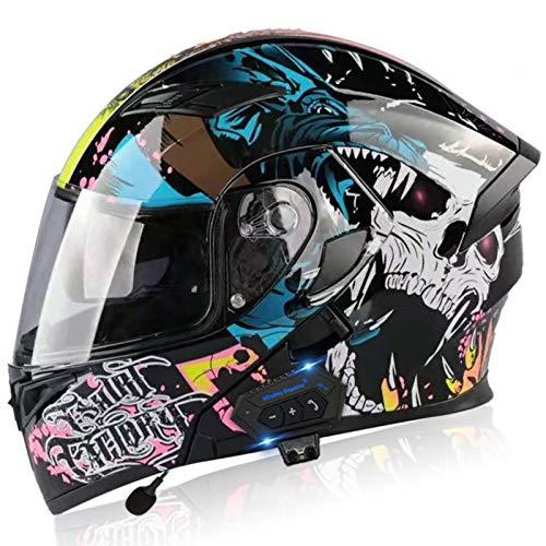 Casco motocicleta modular con Bluetooth, casco de moto integral, ligero, con doble visera, aprobado por DOT/ECE, cascos de motocross para niños, jóvenes, hombres, mujeres, adultos 1,M=54-57CM