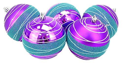 Christmas Concepts® Pack of 5 - Boules de Noël 100mm de Extra-Grandes - Boules Brillantes, Mates et décorées avec des Perles (Violet et Bleu Glace)