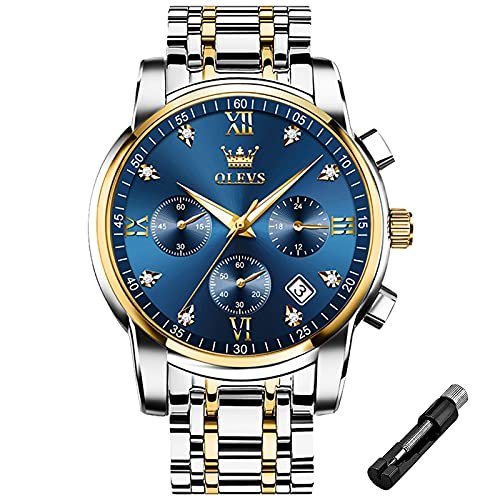 OLEVS Male Wrist Watches, Analog Quartz Business Stainless Steel Waterproof Luminous Watches Luxury Casual Classic Glamour Royal Blue Big Diamond Dial Date Multi-Function Chronograph Watches for Man