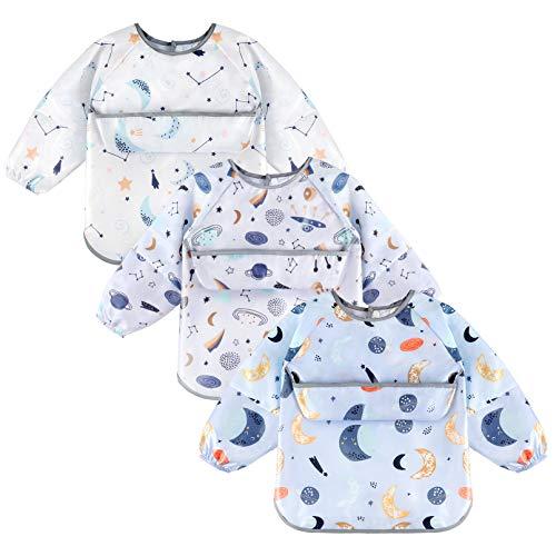 Yoofoss 3 Piezas Baberos Bebés con Mangas Impermeables Babero de Manga Larga con Bolsillo Delantero Algodón Baberos Bebe con Escote Ajustable de Bebé Unisexo Niños Niñas 6-24 Meses