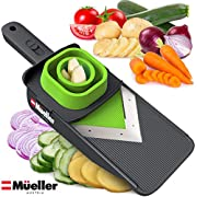 Mueller Handheld Vegetable V Slicer Salad Utensil, Perfect for Salad Zucchini Carrots Onions and All Vegetables, Make Low Carb/Paleo/Gluten-Free Meals, Adjustable Thickness
