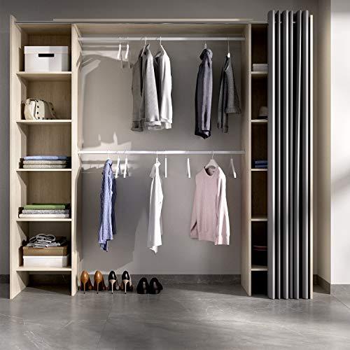 HABITMOBEL Vestidor almacenaje de Ropa Cortina con 10 baldas, Barra de Colgar, Medidas: Alto: 203 cm x Ancho: 180 cm Natural