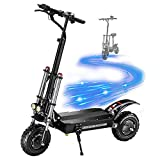 COKECO Patinete Eléctrico Scooter Plegable Doble Accionamiento De 60V38Ah para Cross-Country,11 Pulgadas De Velocidad, 85 Km/H,Plegable,Adulto,5400 W,Scooter Eléctrico De Alta Potencia