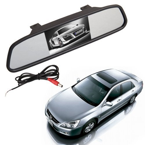 BWA 2 in 1 5 Inch Digital Color TFT LCD 16:9 5' Screen Car Rearview Mirror Security Conitor for Camera DVD PAL/NTSC Multi-Language, [Importado de Reino Unido]