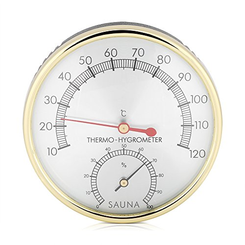 FTVOGUE Sauna Thermometer Metall Zifferblatt Hygrometer hygro-Thermometer Innen Raum Zubehör