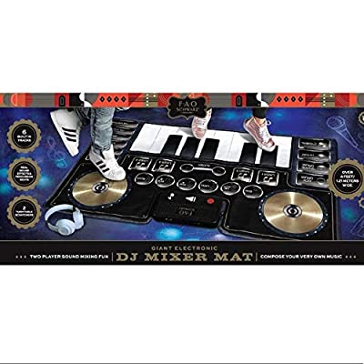 FAO Schwarz Giant Electronic DJ Mixer Mat with Piano Keyboard & Turntable Scratch Pads, Includes Built-in Soundtracks & Vocal & Percussion Sound Effects for Composing & Recording Your Own Music, Black from MERCHSOURCE