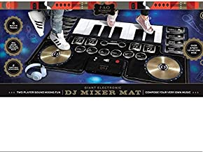 FAO Schwarz Giant Electronic DJ Mixer Mat with Piano Keyboard & Turntable Scratch Pads, Includes Built-in Soundtracks & Vocal & Percussion Sound Effects for Composing & Recording Your Own Music, Black
