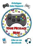 Print4you ND1Xbox Gamer contrôleur de Jeu Anniversaire personnalisé gâteau Ronde Environ 19,1cm (ou Plus Petites sur Demande) sur glaçage