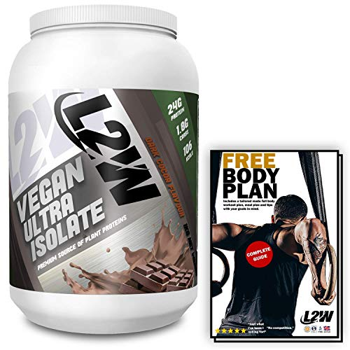 L2W Vegan Protein Powder for Muscle Building and Weight Gain Supplement I Premium Vegan Chocolate Flavour I Hemp Protein Cacao Powder I 1kg I Free Diet and Workout Plan I ISO & GMP Certified