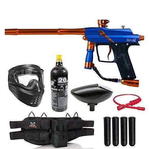 Maddog Azodin Blitz 4 Silver Paintball Gun Starter Package - Blue/Orange
