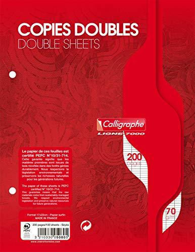 Calligraphe 5080C - Un paquet de copies doubles perforées (gamme 7000 de Clairefontaine) 200 pages 17x22 cm 70g grands carreaux sous film
