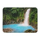 NALLK-7A Felpudos Alfombras de baño Alfombrilla Azul Celeste Cascada Costa Rica Verde Río Selva Agua Tropical 15.8'x23.6