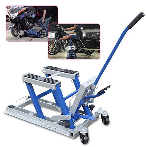 Generic Motorradhebebühnen Motor Ständer Motorradheber Quad ATV Hydraulische Hebebühne mit geschützter Auflage bis max 680 Kg