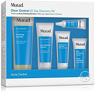 Murad 60 Day Acne Control Kit - (Cleanser, Clearing Solution, Oil Control Mattifier, Spot Treatment, Perfecting Lotion), Acne Treatment Kit Proven to Rapidly Clear Breakouts and Restore Smooth Skin