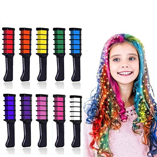 Kalolary Peine de Tiza Para el Pelo, 10 Colores Lavables Tinte para Cabello, Color de pelo Temporal Hair Chalk Set para Niños Regalos Navidad Fiestas Cosplay DIY regalos para niñas y niños