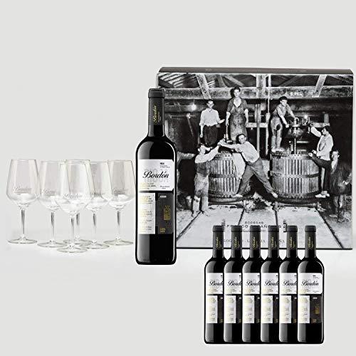 Bordón Reserva Vino Tinto D.O.C Rioja 6 Botellas + 6 Copas de regalo