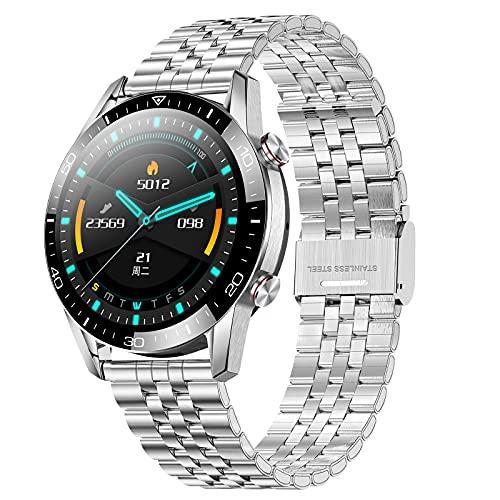 QFSLR Reloj Inteligente Smartwatch con Monitor De Frecuencia Cardíaca Llamada Bluetooth Monitor De Presión Arterial Monitoreo De Oxígeno En Sangre Control De Música IP68 Impermeable,Plata