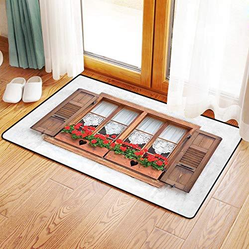 Yaoni Halkfria badrumsmattor, fönsterluckor dekor, tryck på gamla europeiska fönster med fönsterluckor och blommor D, mikrofiber duschmatta matta för badrum kök vardagsrum 40 x 60 cm